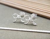 Cute Bow Earrings in Sterling Silver Stud, Handmade, Minimalist, Everyday Wear, Bridesmaid Gift