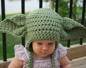 Yoda Inspired Hat Crochet Pattern - Newborn - Toddler - Child - Adult
