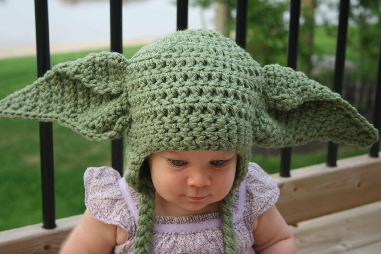 Crochet Pattern Yoda Ears : Yoda Inspired Hat Crochet Pattern Newborn by ...