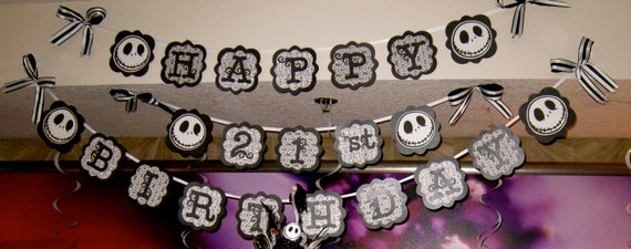 Items similar to Birthday Banners Jack Nightmare Before Christmas ...
