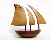 Bigger Galway Hooker Balancing Boat with chestnut natural edge sails from Rebornart Studio