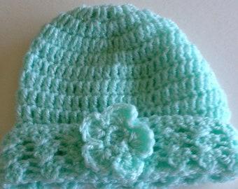 Ooak unique designer baby girls hand knit,crocheted green beanie cap,newborn to 3 months with crochet flower