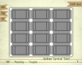 Medium Carnival Tickets - Digital Collage Sheet Layered Template - (T076)
