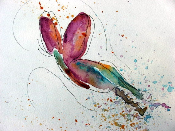 Abstract Butterfly Watercolor Watercolor Butterfly Art