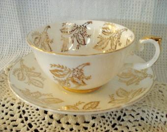 Vintage Teacup Royal Grafton Tea Cup Saucer Bone China Golden Leaves