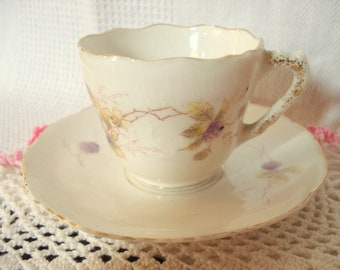 Shabby Teacup Demitasse Cup and Saucer Bone China Tea Cup Shabby Cottage Chic Vintage