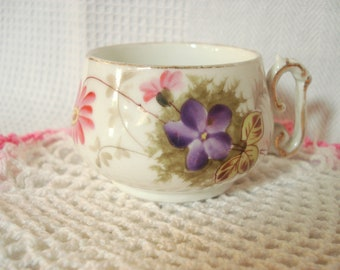 Vintage Demitasse Teacup Cottage Floral Purple Flower Pink Flower Vintage Tea Cup