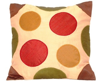 Circles Throw Pillow Colorful Throw Pillow Pillow Cover Accent Pillow Sofa Pillow Cream Pillow Holiday Decor 16x16 pillow Square pillow