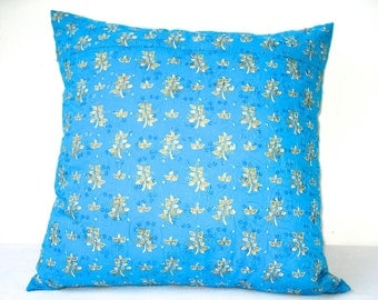 Blue Throw Pillow, Pillow Cover, Throw Pillow, Cushion Cover, Blue Pillow Cover, Flowers, Embroidered, 18x18 pillows