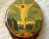 50s/60s Jesus on the Cross Wooden Wall Mount