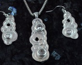 Bubbles 1 - zircon with fine silver pendant and earrings