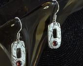Spinel, fine silver earrings
