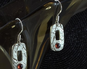 Spinel, fine silver earrings