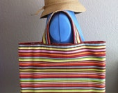 Rainbow Striped Summer Canvas Tote Bag with Modern Floral Print Lining - SALE