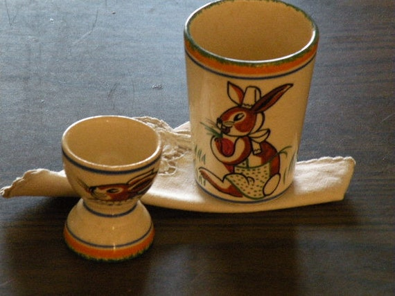 Quimper HB - very rare - egg and drinking cups with bunny designs