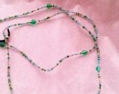 Green and Blue seed bead eye glass chain with larger green glass beads