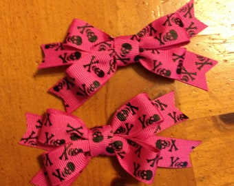 Pink Skull s Hair Bow - 2 inches