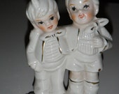 Vintage Porcelain  Figurine of Boy and Girl  Standing Together - Off White with Gold Trim, Pixies