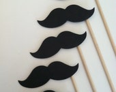 STACHE STICKS (Set of 12 large hand cut stache sticks in BLACK)