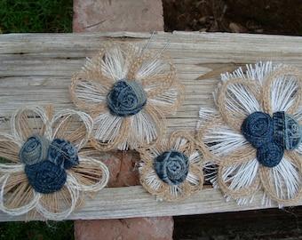 Denim and Burlap Wedding Cake Topper - Country Western, Rustic Burlap Flower Set of 4