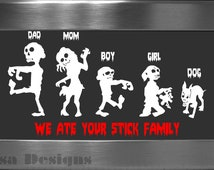 Your choice of 5 Zombie Family vinyl decals / Please READ description for ordering instructions - Car decal - Stick Family decal - Halloween