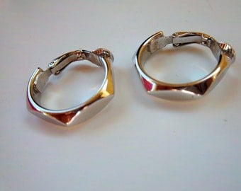 Vintage Silver Trifari Hoop Earrings 1980s