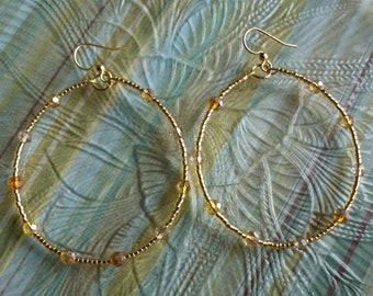 Golden Czech  Beaded Hoop Earrings