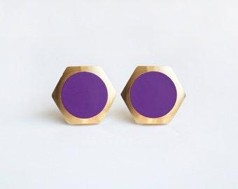 Grape purple circle Geometric Hexagon stud earring -Large-