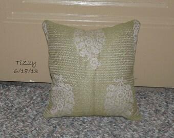 "Green and Tan Decorative Pillow - 12""x12"""