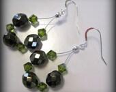 Metallic Brown Iris and Green Swarovski Crystal Beaded Earrings Boho Earthtones