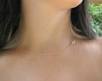 Valentines Day SALE - Star of david gold necklace -Star of david necklace - Thin gold necklace - sideways star of david - Star of David