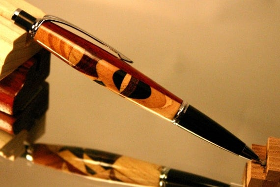 Wood Pen: Kaleidoscope design click pen with crazy side and demure side