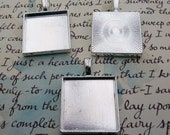 20mm square bezels blanks x 5 for jewellery making.