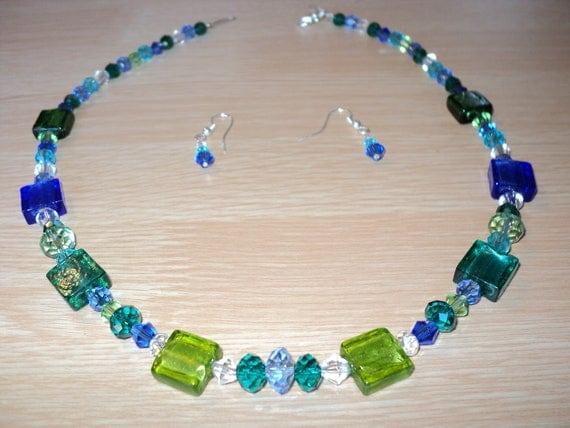 Green and Blue Venetian Glass Bead Necklace