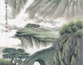 The Village in The Remote Mountain - Original Chinese Landscape Painting