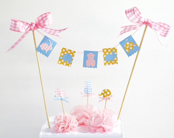 baby cake topper banner bunting baby shower birthday