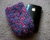 Large grey, orange, pink speckled knitted phone iphone holder case sock