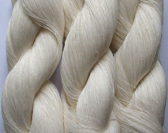 Linen Yarn White 300 gr (10.6 oz ), Cobweb / 1 ply, each hank contains approximately 3000 yds