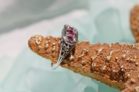 Gorgeous Edwardian Revival Intricate Filigree Sterling Silver 925 Genuine Ruby Ring - Size 7