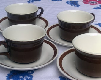Royal USA China - Cavalier Shape  - Monterey Brown Floral - Accent Cups and Saucers - Set of 4