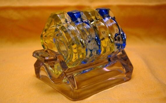 Cambridge Glass Vintage  Art  Deco Varitone  Glass Ashtray Set of 4 with Tray Mad Men