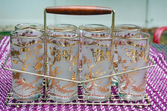 Libbey Glass Frosted Gold  Bonsai Highball Tumblers With Brass Wood Carrier Caddy-Set of 8