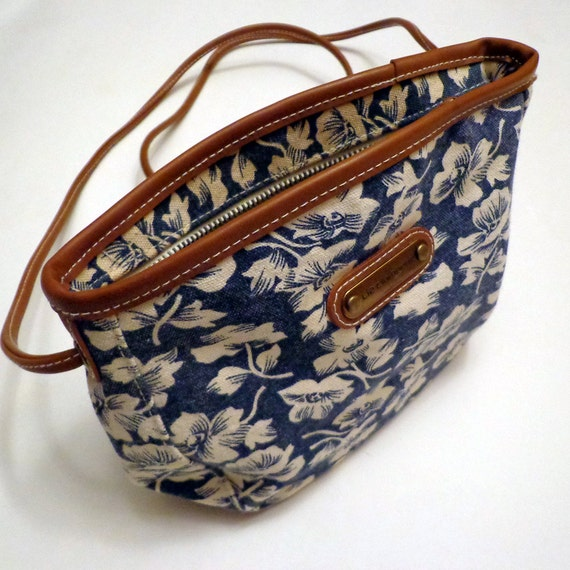 Vintage Blue Purse with White Floral Pattern
