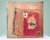 "Original Oil Painting ""Small Composition with Sgt Card"" oil & collage on canvas 5""x5"" square"