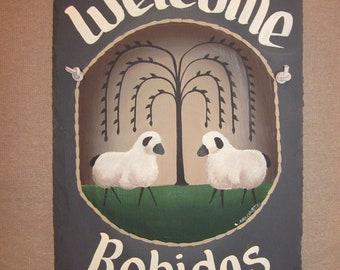 Handpainted Personalized Country Folk Willow Sheep Slate Welcome Sign