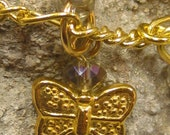 Anklet, Mystic Topaz Crystal and Gold Butterfly Charm Anklet with clasp, czech topaz crystals and butterfly charms ankle bracelet