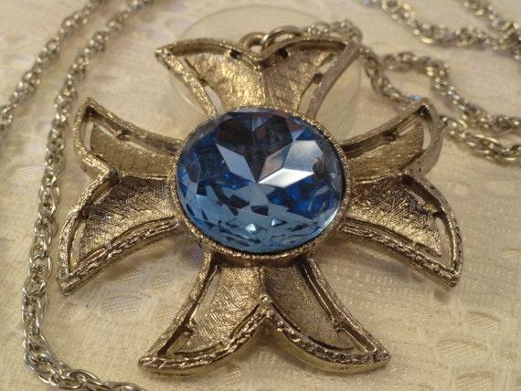 Beautiful Maltese Cross Chain Necklace Center Cobalt Stone