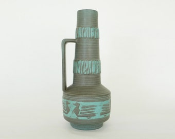West German Pottery Vase Mid Century Modern Ceramic 225 / Bohemian Southwestern