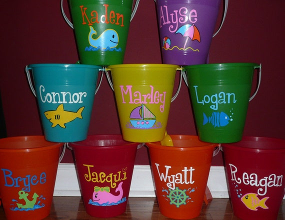 Items Similar To Hand Painted Personalized Beach Bucket