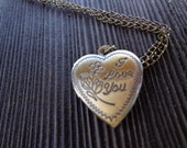 "Antique Brass Heart ""I Love You"" Locket with a chain"